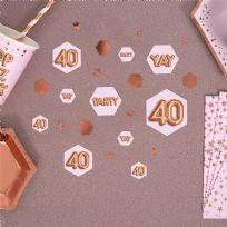 Glitz & Glamour Pink & Rose Gold Confetti Scatters 40th (100)